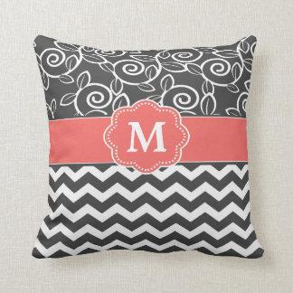 Dark Coral Throw Pillows : Coral And Gray Pillows - Decorative & Throw Pillows Zazzle