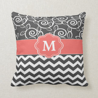 Gray Coral Chevron Monogram Pillows