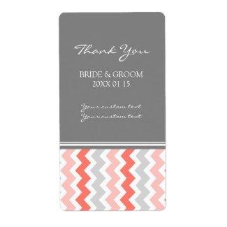 Gray Coral Chevron Wedding Labels