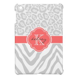 Gray & Coral Chic Animal Print Custom Monogram iPad Mini Covers