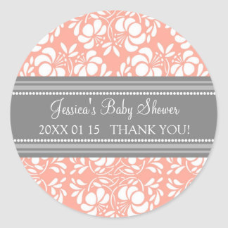 Gray Coral Damask Baby Shower Favor Stickers