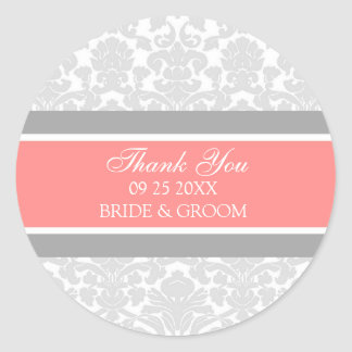 Gray Coral Damask Thank You Wedding Favor Tags