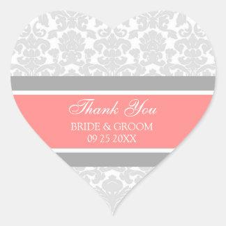 Gray Coral Damask Thank You Wedding Favor Tags