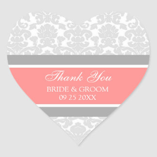 Gray Coral Damask Thank You Wedding Favor Tags Heart Sticker
