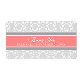 Gray Coral Damask Wedding Labels