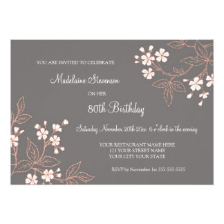 Gray Coral Floral 80th Birthday Party Invitations