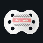 """Gray &amp; Coral Graphic Chevron Pattern - Baby Girl Pacifier<br><div class=""""desc"""">A family friendly and modern design. You can change the name to a monogram or other text.</div>"""
