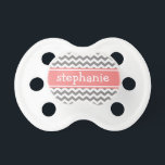 "Gray &amp; Coral Graphic Chevron Pattern - Baby Girl Pacifier<br><div class=""desc"">A family friendly and modern design. You can change the name to a monogram or other text.</div>"