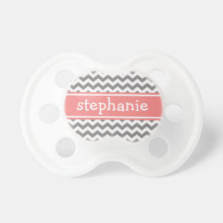 Gray & Coral Graphic Chevron Pattern - Baby Girl Baby Pacifier
