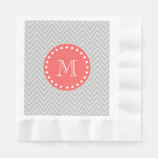 Gray & Coral Modern Chevron Custom Monogram Paper Napkin