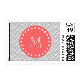 Gray & Coral Modern Chevron Custom Monogram Postage Stamp