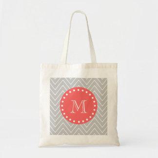Gray & Coral Modern Chevron Custom Monogram Tote Bag