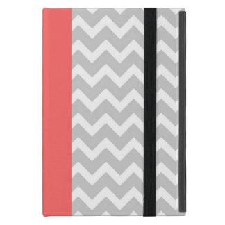 Gray & Coral Modern Chevron Stripes iPad Mini Cases
