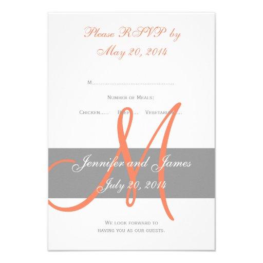 Gray Coral Monogram Wedding RSVP Card (back side)