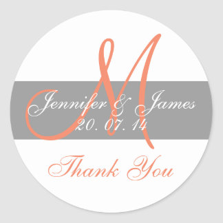 Gray Coral Monogram Wedding Thank You Stickers