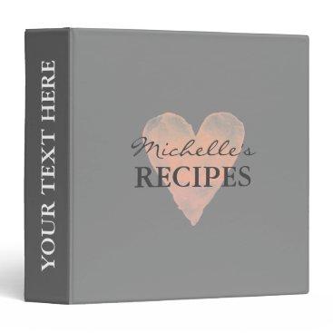 logotees Gray coral watercolor kitchen recipe binder book