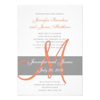 Gray Coral Wedding Invitation Monogram Names