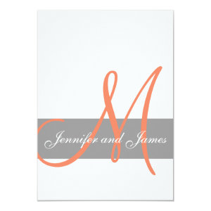 Gray Coral Wedding Invitation | Monogram Names 5