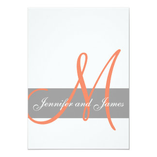 "Gray Coral Wedding Invitation | Monogram Names 5"" X 7"" Invitation Card"