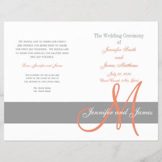 Gray Coral Wedding Program   Monogram