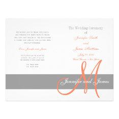 Gray Coral Wedding Program   Monogram at Zazzle