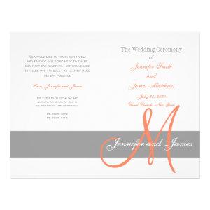 Gray Coral Wedding Program | Monogram Flyer