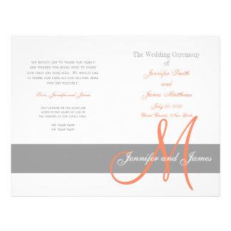 "Gray Coral Wedding Program | Monogram 8.5"" X 11"" Flyer"