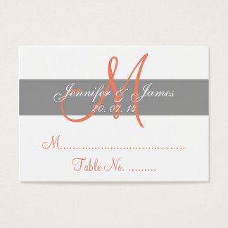 Gray Coral Wedding Reception Escort Card