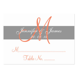 Gray Coral Wedding Reception Escort Card Large Business Cards (Pack Of 100)