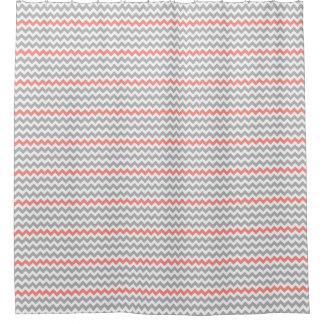 Coral Chevron Shower Curtains Zazzle
