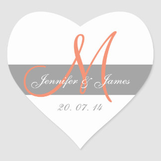 Gray CoralMonogram Names Wedding Favor Sticker
