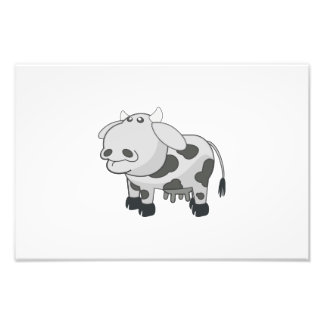 Gray cow cartoon photo print