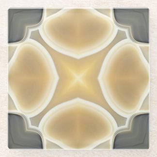 Gray Cream Agate Gemstone Crystals Geode Pattern Glass Coaster