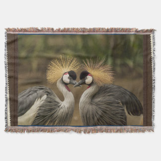Gray Crowned Crane Bird Photography Print Throw Blanket