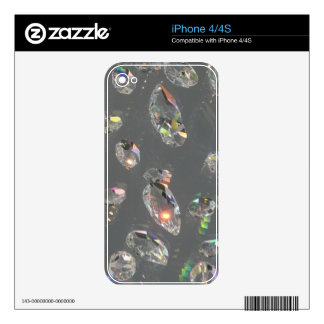 Gray Crystal Gems Print Decals For iPhone 4