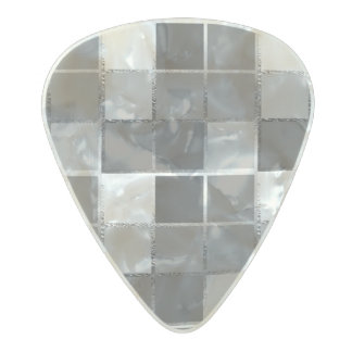 Gray Cube Geometric Cubist Beatnik Pearl Celluloid Guitar Pick
