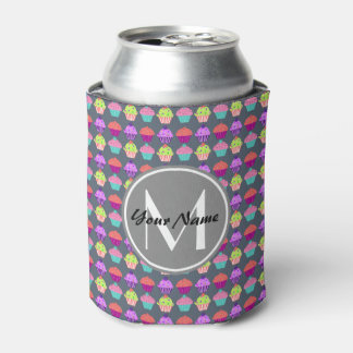 Gray Cupcakes, Personalized Name Monogram Can Cooler
