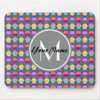 Gray Cupcakes, Personalized Name Monogram Mouse Pad