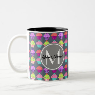 Gray Cupcakes, Personalized Name Monogram Two-Tone Coffee Mug