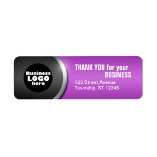 """Gray Curve & Purple """"THANK YOU for your BUSINESS"""" Label"""