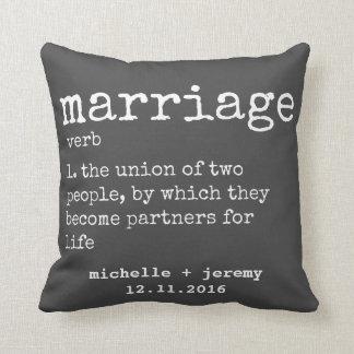 Gray Custom Couple's Definition Wedding Pillow