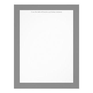 Gray Custom Stationery w/ Signature Heading Text Letterhead Design