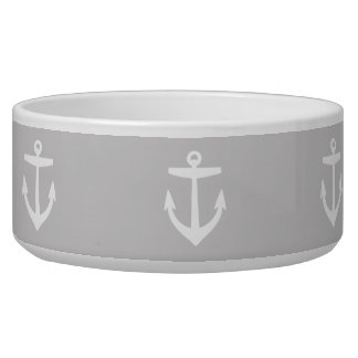 Gray Cute Anchor Pattern Bowl