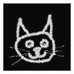 Gray Cute Cat. Personalized Invitations