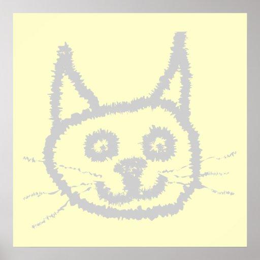 Gray Cute Cat. Poster