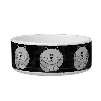 Gray Cute Fat Cats on Black Pet Bowl