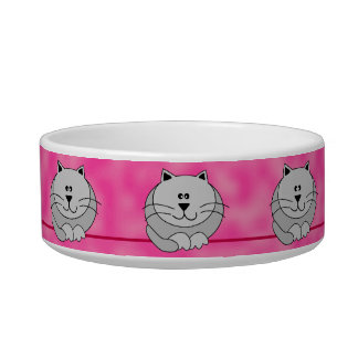 Gray Cute Fat Cats on Pink Whimsical Pet Bowl