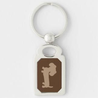 Gray Dachshund Masculine Keychain key ring