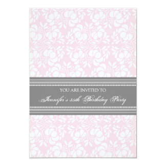 Gray Damask 35th Birthday Party Invitations