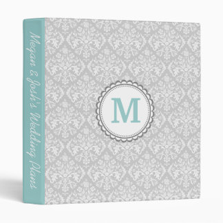 Gray Damask 3 Ring Binder